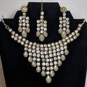 Jewelry - Kundan Studded Necklace Set, Earrings and Tikka